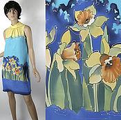 Одежда ручной работы. Ярмарка Мастеров - ручная работа Платье со стойкой  40-42 р  с нарциссами. Handmade.