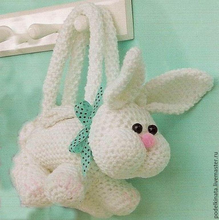 Вязанная сумка заяц