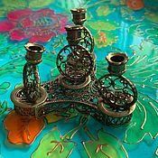 Для дома и интерьера handmade. Livemaster - original item @ Filigree brass candle holder for four thin candles. RUSSIA. Handmade.