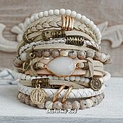 Украшения handmade. Livemaster - original item Beige leather bracelet with agate