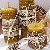 Свечи ручной работы. Ярмарка Мастеров - ручная работа Подарочный набор свечей из вощины. Handmade.