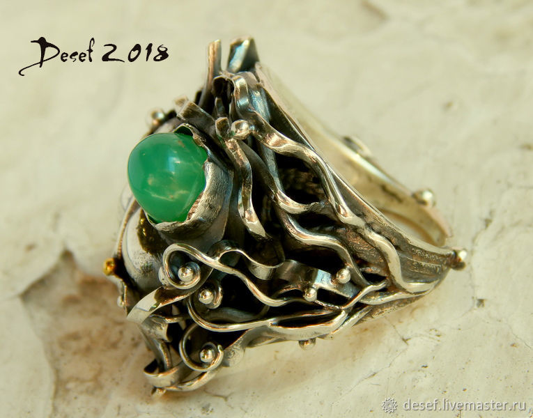 Ring in silver with chrysoprase on the theme ' Spring', Rings, Kurgan,  Фото №1