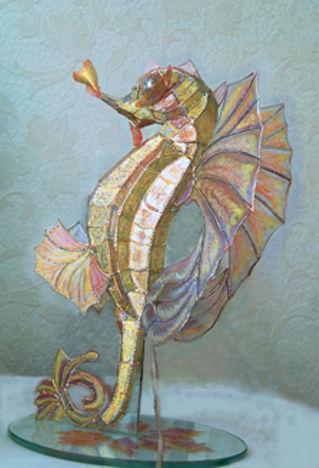Элементы интерьера ручной работы. Ярмарка Мастеров - ручная работа. Купить Морской конек- витражный светильник в стиле тиффани. Handmade.