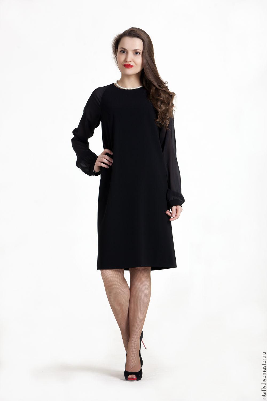 Коктейльное черное платье длинное