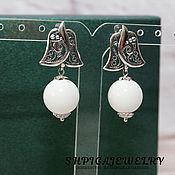 Украшения handmade. Livemaster - original item Silver plated earrings with large genuine white agate