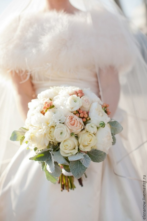 Свадебные цветы ручной работы. Ярмарка Мастеров - ручная работа. Купить Букет невесты. Handmade. Бледно-розовый, белый