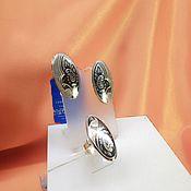 Украшения handmade. Livemaster - original item Vintage silver set of earrings and ring Northern Black. Handmade.