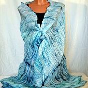 Аксессуары handmade. Livemaster - original item Stole silk batik Salty ice. Handmade.
