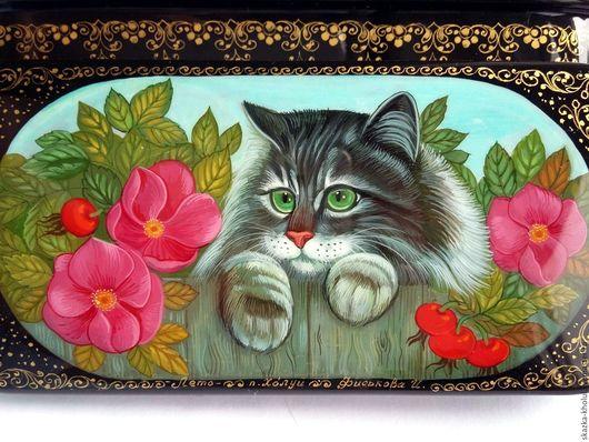 Шкатулки ручной работы. Ярмарка Мастеров - ручная работа. Купить Кот на заборе.Шкатулочка папье-маше. Handmade. Комбинированный
