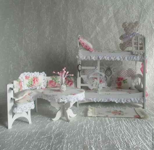"""Кукольный дом ручной работы. Ярмарка Мастеров - ручная работа. Купить """"Спаленка"""" с 2-х ярусной кроватью. Для кукол до 16 см. Handmade."""