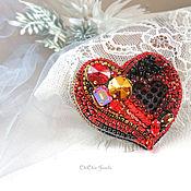 Брошь-булавка ручной работы. Ярмарка Мастеров - ручная работа Брошь Сердце, красная брошь, подарок на день влюбленных. Handmade.