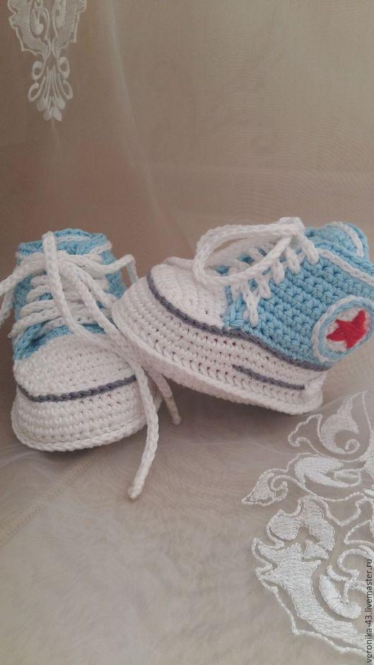 Детская обувь ручной работы. Ярмарка Мастеров - ручная работа. Купить Пинетки кеды. Handmade. Голубой, пинетки вязаные