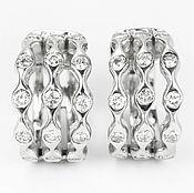 Украшения handmade. Livemaster - original item 1.05tcw 14K White Gold Diamond Hoop Earrings, Modern Diamond Hoop Earr. Handmade.
