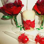 Свадебный салон ручной работы. Ярмарка Мастеров - ручная работа Бокалы свадебные и свечи Розы. Handmade.