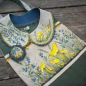 Аксессуары handmade. Livemaster - original item Bag collar and brooch Chanterelles and blueberries Hand painted. Handmade.