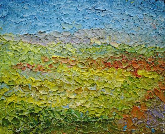 Пейзаж ручной работы. Ярмарка Мастеров - ручная работа. Купить 45х55 Полдень. объемные картины. Handmade. Салатовый, зной, фактура