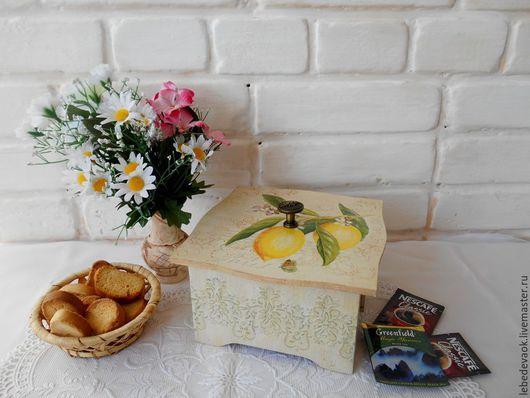 """Кухня ручной работы. Ярмарка Мастеров - ручная работа. Купить Коробка для хранения """"С лимонами"""" - декупаж для дома и интерьера. Handmade."""