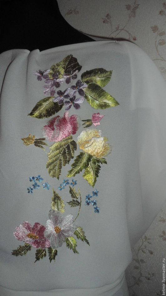 Блузки ручной работы. Ярмарка Мастеров - ручная работа. Купить вышитая шелком заготовка на блузку. Handmade. Белый