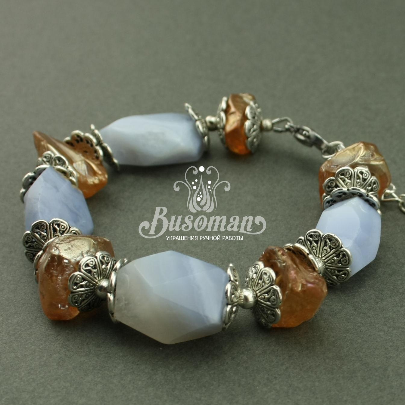 Браслет из голубого халцедона и кварца 395, Браслет из бусин, Анапа,  Фото №1
