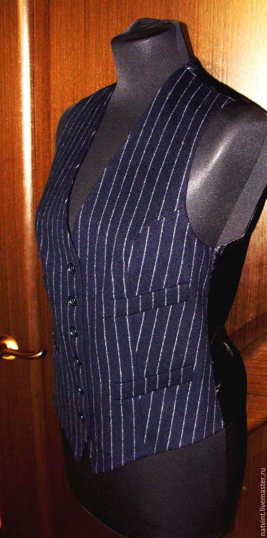 Одежда. Ярмарка Мастеров - ручная работа. Купить Max Mara, шерстяной офисный жилет, оригинал, Италия. Handmade. Тёмно-синий