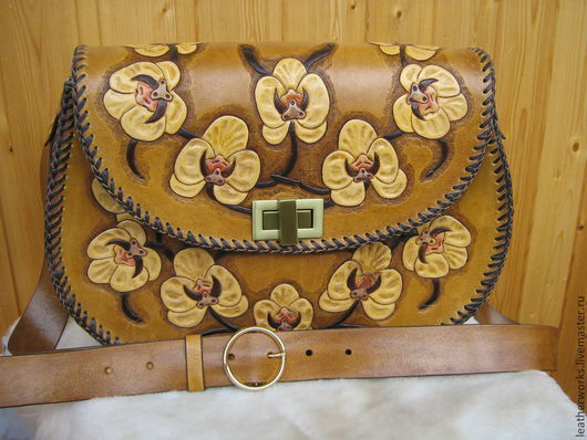 """Женские сумки ручной работы. Ярмарка Мастеров - ручная работа. Купить Большая сумка """"Орхидея"""". Handmade. Рыжий, гравировка по коже"""