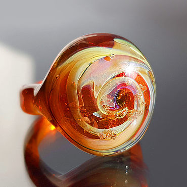 Decorations handmade. Livemaster - original item Amber galaxy ring size 18 3/4. Handmade.