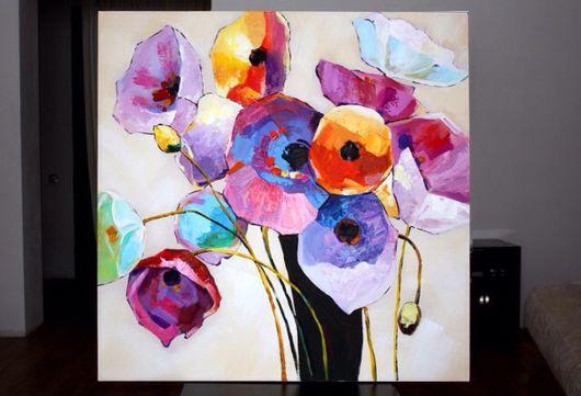 Картины цветов ручной работы. Ярмарка Мастеров - ручная работа. Купить Маковое настроение. Handmade. Маки, абстракция, цветы в вазе