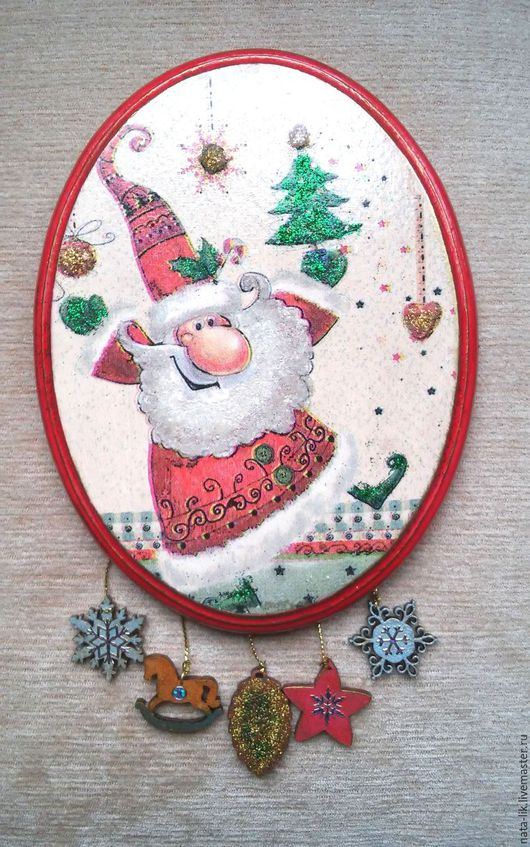 """Новый год 2017 ручной работы. Ярмарка Мастеров - ручная работа. Купить Панно """"Веселый Дед Мороз"""". Handmade. Белый"""