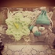 Косметика ручной работы. Ярмарка Мастеров - ручная работа Набор мыла мишки Тедди со снежком +снежинка. Handmade.