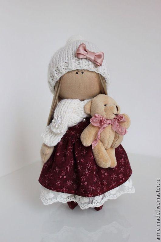 Человечки ручной работы. Ярмарка Мастеров - ручная работа. Купить Рождественская кукла-малышка Kristi. Handmade. Бордовый, Новый Год