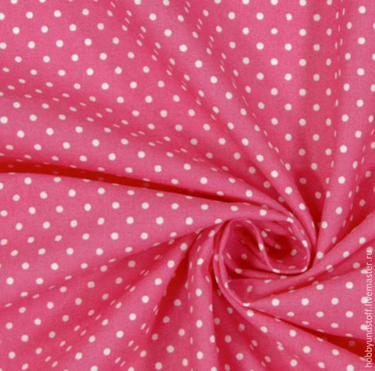 Шитье ручной работы. Ярмарка Мастеров - ручная работа. Купить Горошки на ярко-розовом. Handmade. Розовый, хлопок, хлопок для пэчворка