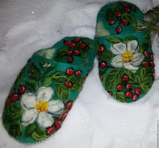 Обувь ручной работы. Ярмарка Мастеров - ручная работа. Купить Тапочки домашние ручной работы. Handmade. Морская волна