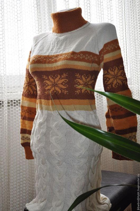 Вязаное платье с в скандинавском стиле