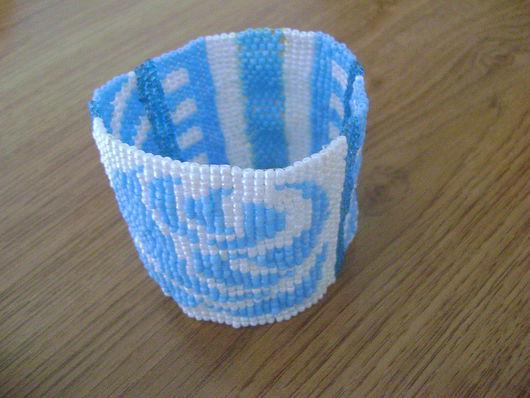Браслеты ручной работы. Ярмарка Мастеров - ручная работа. Купить Браслет бисера плетенный. Handmade. Бисер, плетение, тёмно-бирюзовый
