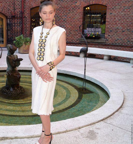 """Платья ручной работы. Ярмарка Мастеров - ручная работа. Купить Валяное платье """"Крем"""" нуно. Handmade. Белый, платье валяное"""