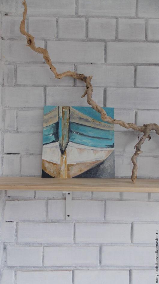 """Символизм ручной работы. Ярмарка Мастеров - ручная работа. Купить Картина маслом """"Лодка на берегу"""". Handmade. Комбинированный, картина в подарок"""