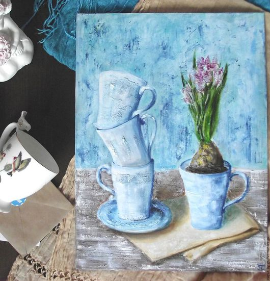 """Натюрморт ручной работы. Ярмарка Мастеров - ручная работа. Купить Картина """"Доброе утро"""". Handmade. Голубой, для кухни, доброе утро"""
