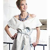 """Одежда ручной работы. Ярмарка Мастеров - ручная работа Авторский жилет """"Метель"""" Эко одежда. Белый, Голубой, Серый. Handmade."""