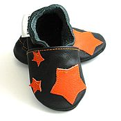 Работы для детей, handmade. Livemaster - original item Leather Baby Shoes, Leather baby booties, Stars Baby Shoes. Handmade.
