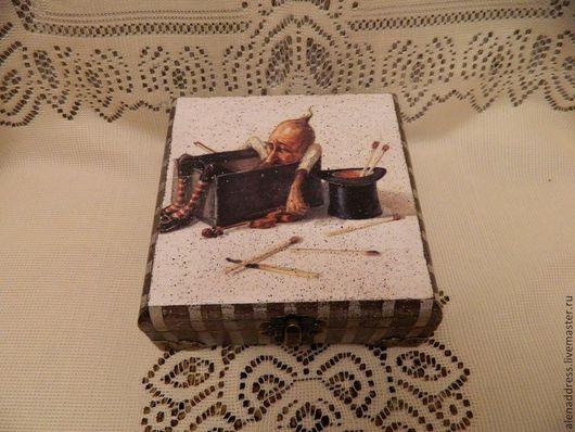 """Шкатулки ручной работы. Ярмарка Мастеров - ручная работа. Купить Шкатулочка маленькая """"За спичками"""". Handmade. Коричневый, шкатулка"""