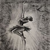 Картины и панно handmade. Livemaster - original item Ballerina drawing-Fine Art-Original charcoal drawing. Handmade.