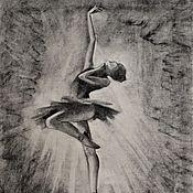 Картины и панно handmade. Livemaster - original item Ballerina drawing-Fine Art-Original charcoal drawing. Handmade.