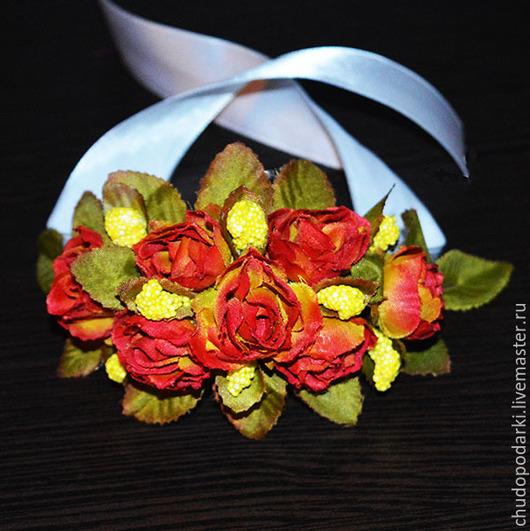 Браслеты ручной работы. Ярмарка Мастеров - ручная работа. Купить Браслет винтажный из мелких искусственных роз.. Handmade. Браслет цветочный