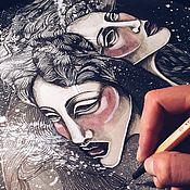 Картины и панно ручной работы. Ярмарка Мастеров - ручная работа Black fishes. Handmade.