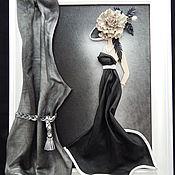Картины ручной работы. Ярмарка Мастеров - ручная работа Картина из кожи Дама в шляпе. Объемная картина из кожи. Handmade.
