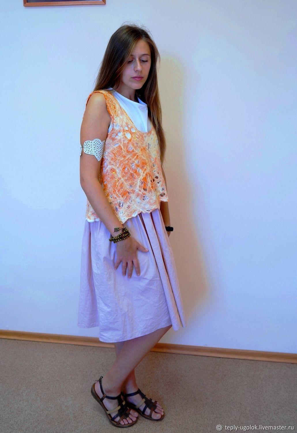 Easy felted fishnet vest made of silk and wool the Glare Wings, Tops, Novomoskovsk,  Фото №1