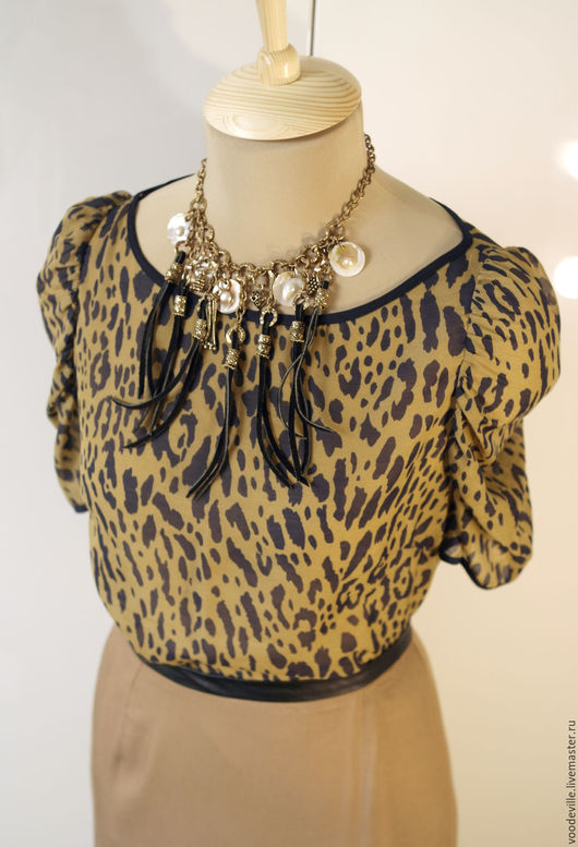 Одежда. Ярмарка Мастеров - ручная работа. Купить Блуза новая с леопардовым принтом. Handmade. Оливковый, синий