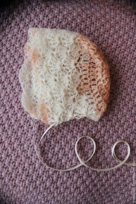 Для новорожденных, ручной работы. Ярмарка Мастеров - ручная работа. Купить Ажурная шапочка из мохера. Handmade. Бежевый, фотосессия малышей