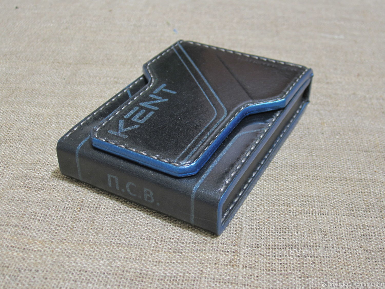 Kent-nano cigarette case, leather case for cigarette packs. blue-black, Cigarette cases, Yalta,  Фото №1