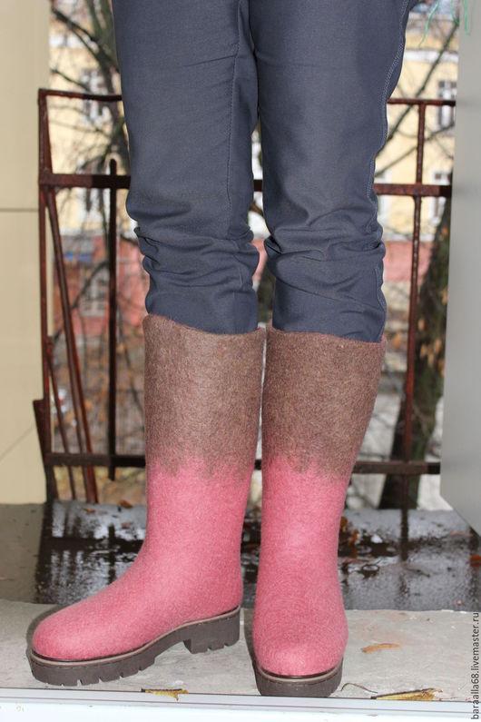 """Обувь ручной работы. Ярмарка Мастеров - ручная работа. Купить Валяные сапоги """"Пыльная роза"""". Handmade. Розовый, валяная обувь"""